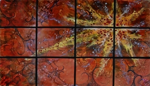 "Sunstar, in Twelve Panels,  34"" x 54"""
