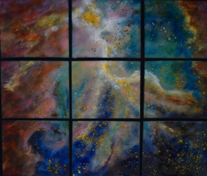 "Starlight in nine Panels, 43"" x 49"""