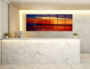 Brightening an elegant but austere reception area, 44%22 x 98%22