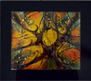 Treetops, 14_ x 16_, mounted ont black lucite