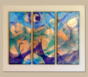 Sand and Sea Trio, 19_ X 28_, Mounted on painted wood. R-950