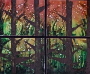 Woodland Fireflies Quartet, 22_ x 26_
