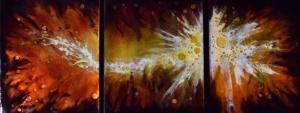 """Firey Nebula Trio, 12""""x 32"""""""