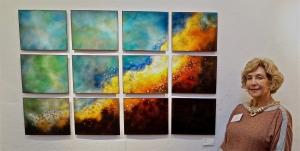"""Swan in Twelve Panels, 34"""" x 54"""""""