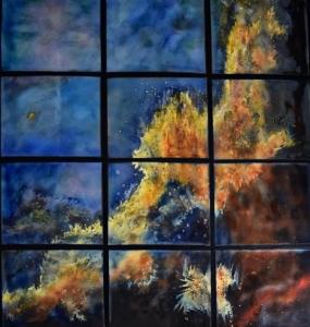 """Vertical Swan Nebula, 58""""x 50"""""""
